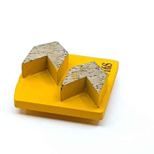 20 16 Grit Diamond Arrow Segments Concrete Grinding Shoes Redi Lock Husqvarna compatible shape LeBurg Diamond Tools
