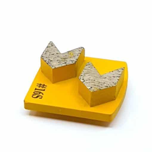 8 16 Grit Diamond Arrow Segments Concrete Grinding Shoes Redi Lock Husqvarna compatible shape LeBurg Diamond Tools